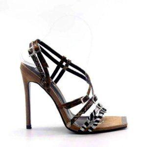 Embellished Square Toe Heels in Animal Print Nude